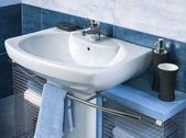 Detail of a modern bathroom with sink and accessories — Stock Photo