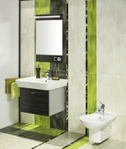 Detail of a modern bathroom interior with miror and bidet — Photo