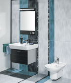Detail of a luxurious bathroom interior with miror and sink with — Stock Photo