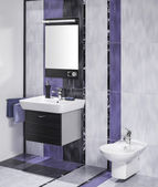 Detail of an elegant bathroom interior with miror and sink with  — Stock Photo