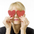 Woman Holding Two Hearts — Stock Photo