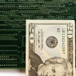 Twenty Dollar Bill and Circuit Board — Stock Photo