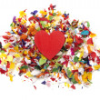 Heart and Confetti - Stock Photo