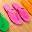 Flip Flops on Bamboo — Stockfoto