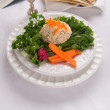 Gefilte Fish with Kidduch Cup, Matzah and Haggadah — Stock Photo
