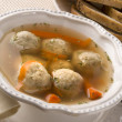Traditional Jewish Passover Dish Matzah Ball Soup — Stock Photo
