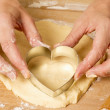 Making Heart Shaped Cookies — Stock Photo