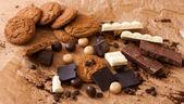 Comer dulces de chocolate, café — Foto de Stock