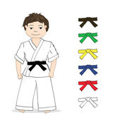 Boy karate and colored belts — Stock Vector