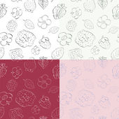 Strawberries and flowers - seamless pattern — Stock Vector