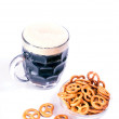 Mug of beer and pretzel snack — Stock Photo #28944799