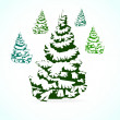 Stock Vector: Christmas tree in the snow.
