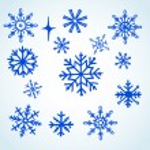 Set blue snowflakes doodle — Stock Photo #36631929