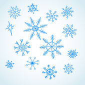 Set blue snowflakes doodle — Stock Photo