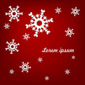 Light snowflakes on a red background — Vetorial Stock