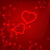 Röda hjärtan alla hjärtans dagskort på röd bakgrund — Stockvektor