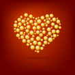 Stock Vector: Heart of gold bubbles Valentine's Day. On red background