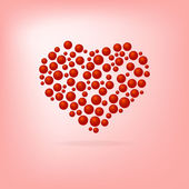 Heart of red bubbles Valentine's Day. On a pink background. — Stock Vector