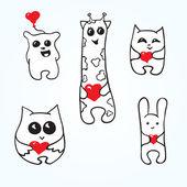 рисунок животных с сердечками — Cтоковый вектор
