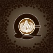 Cup of cappuccino with milk pattern surrounded by cofee beans — Vector de stock