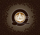 Cup of cappuccino with milk pattern surrounded by cofee beans — Stock Vector