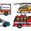 Emergency Vehicles — Stok Vektör