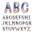 Metallic America Font - Stock Vector