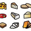 Stock Vector: Cheese and Crackers Icons