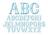 синий буква шрифта — Cтоковый вектор