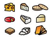 Iconos de queso y galletas — Vector de stock