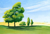 Acrylic Countryside Painting — Stock Photo