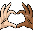Diversity Heart Hands — Stock Vector