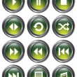 Green Metal Media Buttons — Stock Vector #24798153