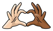 Diversity Heart Hands — Stock Vector