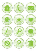 Green Spotted Action Buttons — Stock Vector
