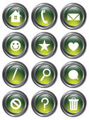 Green Action Buttons — Stock Vector