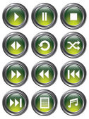 Green Metal Media Buttons — Stock Vector