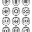 Metal Media Buttons — Stock Vector
