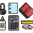 School Supplies Icons — Vettoriali Stock