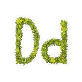 Leaf Font D — Stock Vector