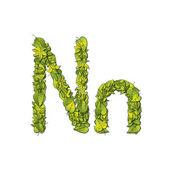 Leaf Font N — Stock Vector