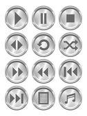 Metal Media Buttons — Stock Vector