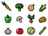 Ikony warzyw — Wektor stockowy