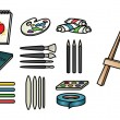 Art Supply Icons — Stockvectorbeeld