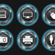 Blue Metallic Device Buttons — Imagen vectorial