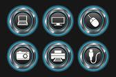 Blue Metallic Device Buttons — Stock Vector
