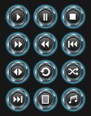 Blue Metallic Media Buttons — Stock Vector