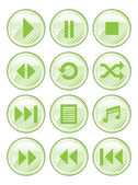 Green Spotted Media Buttons — Stock Vector