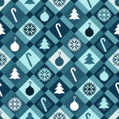 Blue Christmas Quilt Background — Stock Vector
