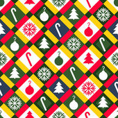 Red, Green and Gold Christmas Quilt Background — Stock Vector